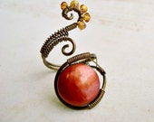 Brass Wire Ring, Wire Wrapped Adjustable Ring, Copper Coin Pearl:  Mars, Betelgeuse, and Some Other Heavenly Bodies - 15% off