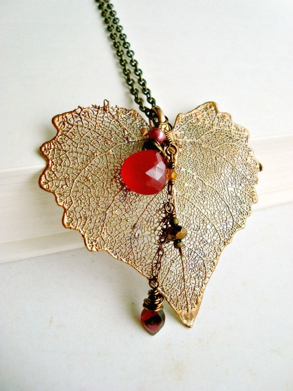 Copper Skeleton Leaf Necklace With Hot Pink Chalcedony, Burgundy Garnet, and Raspberry Freshwater Pearl:  15% off