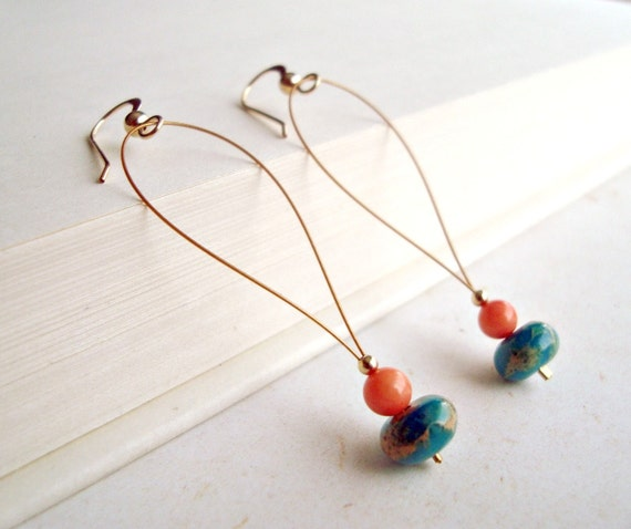 Aqua Peach Coral Earrings, Serpentinite Jasper and Coral Gold Filled Earrings:  Summer Breeze