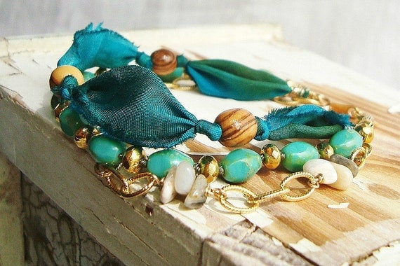 Blue Silk Fabric Bracelet, Glass, Wood, Opal and Gold Chain Bracelet:  Turquoise, Brown and Gold