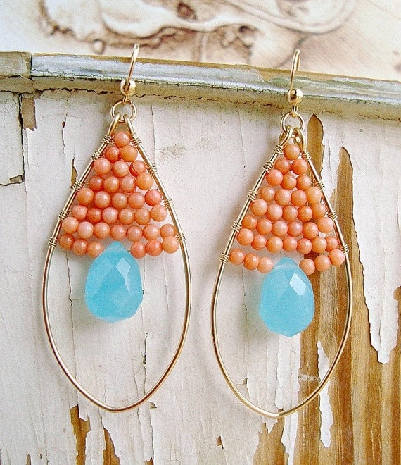 Aqua and Peach Coral Earrings With Gold Filled Oval Hoops