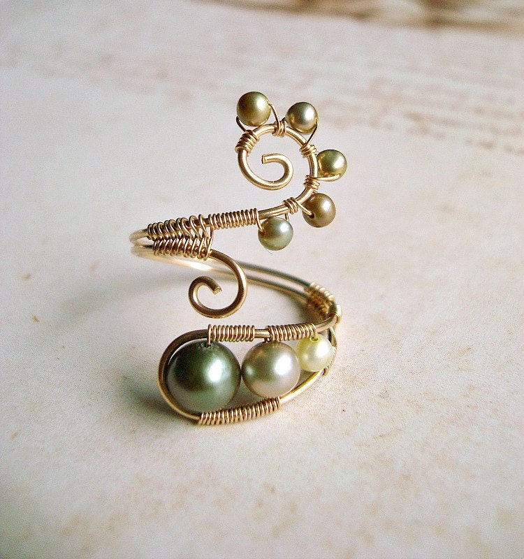 green pearl wire ring gold filled wire wrapped ring with