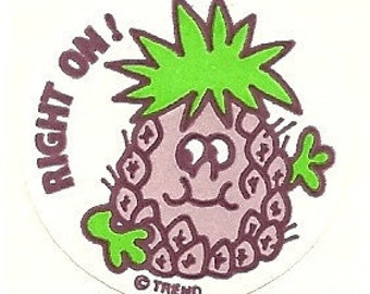 """Vintage 80's Trend Matte PINEAPPLE """"Right On"""" Scratch and Sniff Sticker"""