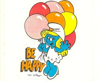 "Vintage 80's Smurfette ""Be Happy"" Sticker"