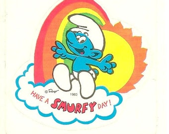 "Vintage 80's Smurf Rainbow "" Have a Smurfy Day"" Sticker"