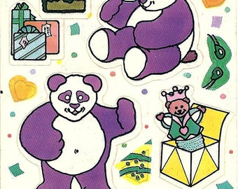 Vintage 80's Illuminations Dress a Party Panda Bear Sticker Sheet