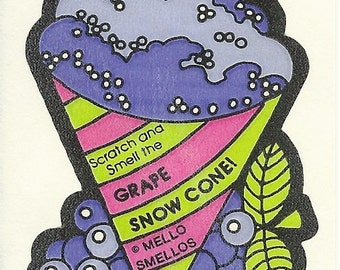 Vintage 80's Mello Smellos GRAPE Snow Cone Scratch and Sniff Sticker