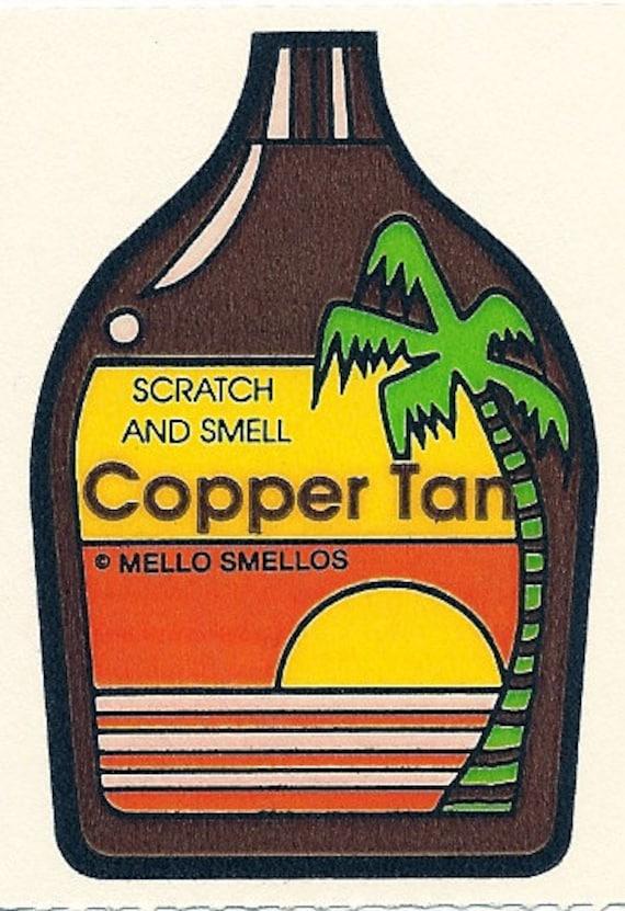 Vintage 80's Mello Smellos COPPER TAN Scratch and Sniff Sticker