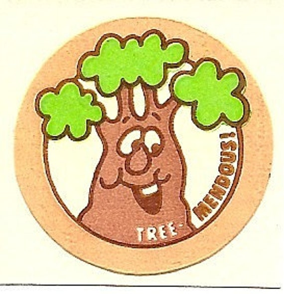 Vintage 80's Trend Matte WOOD Tree Scratch and Sniff Sticker