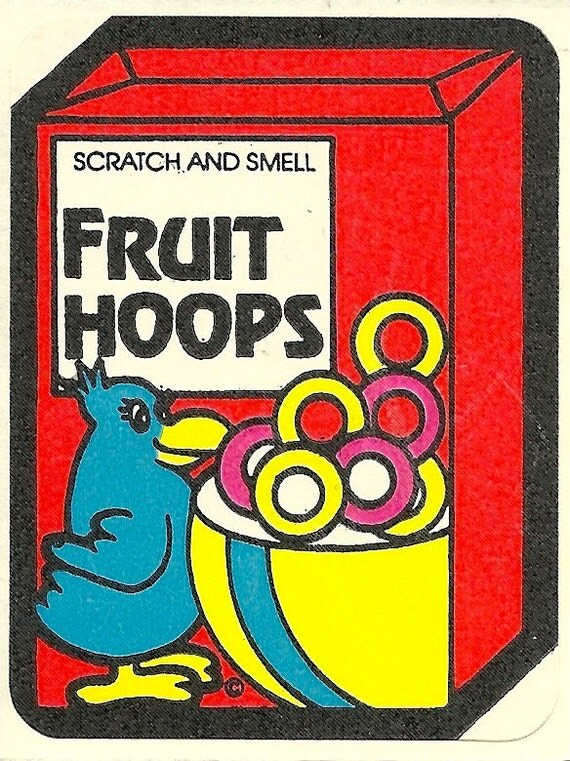Vintage 80's Mello Smellos FRUIT HOOPS Scratch and Sniff Sticker