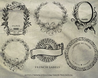 Antique French Jar Labels Collage Sheet, Printable, INSTANT DOWNLOAD
