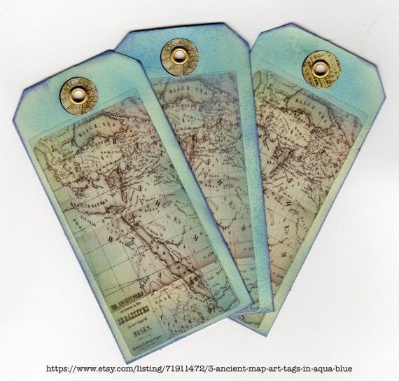 3  Ancient Map Art Tags in  Aqua Blue