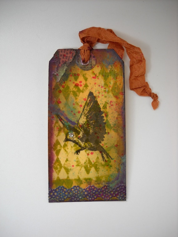 Altered Art  Bird Tag with Harlequin  Diamonds and Lace, Ooak