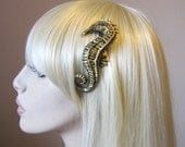 Seahorse hair clip - Brass / Gold resin - Nautical hair accessory
