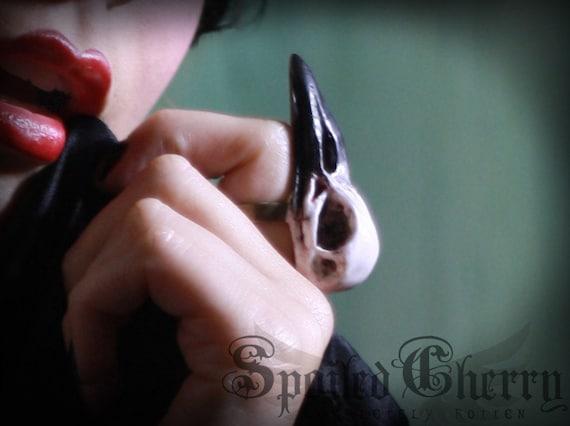 Bird skull ring - faux taxedermy crow skull