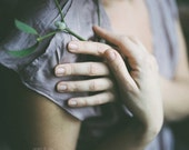 Soft Skin - 8 x 8 - Fine art photographic print. Hands detail, woman, feminine. Lavender and green, square format. Home decor, home office.