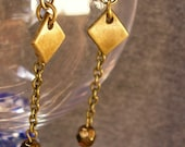 Handmade Earring - Minimalist Bronze Diamonds and Chain