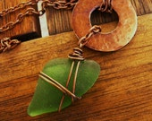 Bohemian Jewelry  - Arrowhead Tribal Seaglass Necklace - Free Shipping SALE was 44.00 now 36.00