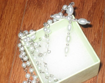 Pearl Cross Necklace and Earring Set, Silver, Dangle, Christian Gift