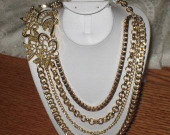 Multi Stranded Chain Necklace, Gold Plated Finish, Unique Flattering Piece, Assorted Patterns, CLEARANCE