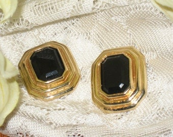 Vintage Gold And Black Stone Earrings
