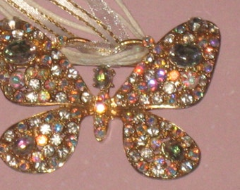 CLEARANCE Aurora Borealis Butterfly Pendant and Brooch, Large Gold Tone, Statement Piece