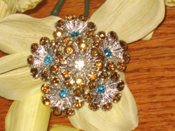 Vintage Starburst Brooch, Turquoise, Topaz Rhinestones, Excellent Condition