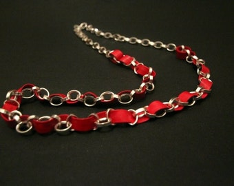 Sky red silver chain necklace