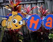Adorable Happy Birthday Banner - Finding Nemo Collection - Blue and Orange
