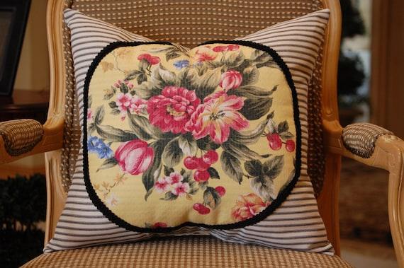 Vintage Floral Barkcloth medium pillow