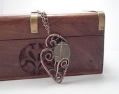 Seaglass Copper Wire Wrapped Pendant Necklace