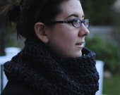 Charcoal Gray wide and slouchy circular scarf