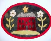 Primitive Penny Rug Rustic.. Folk art Wool Table Mat...Home Decor Lil Red Salt Box.. red black yellow