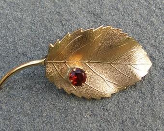 Vintage Leaf Brooch with Red Rhinestone