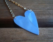 Periwinkle Recycled Vinyl Record Heart Necklace - Blue Skies