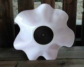 White and Pink Record Bowl - Recycled Vinyl Record Bowl