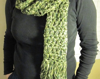 Grassy Green Scarf with Super Fringe