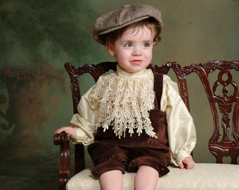 Victorian Little Boy Knickers in brown velvet and dupioni silk shirt