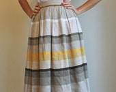 Vintage Midi Skirt  /  High Waisted Skirt  /  Spring Stripes  /  Extra Small or Small