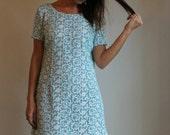 50s Eyelet Dress  /  Vintage 1950s Mini Shift Dress  /  Medium