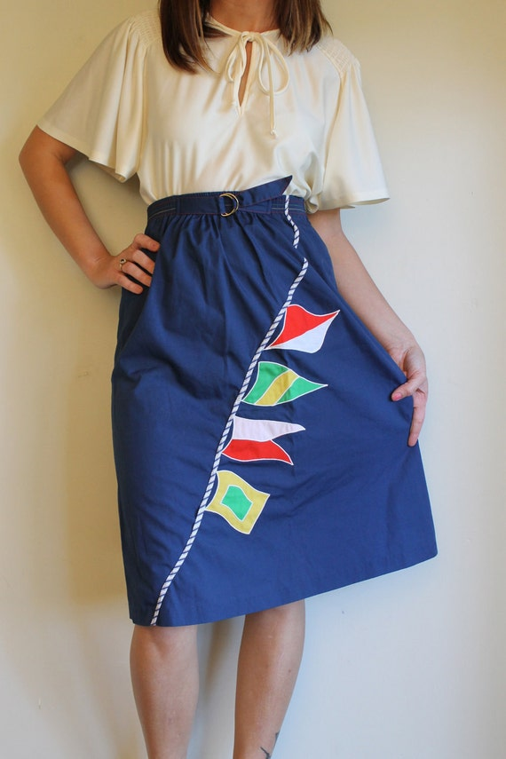 Novelty Nautical Skirt / High Waisted Vintage 60s Skirt / Navy Blue With Sailing Flags Knee Length / Size Small
