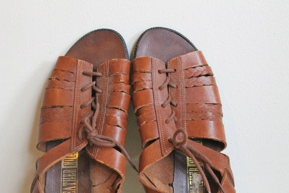 Leather Gladiator Sandals  /  Lace Up Peep Toe Sandals  /  Vintage 90s  /  5