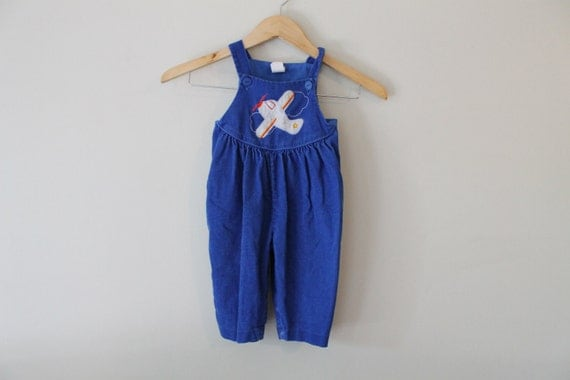 Vintage Baby Overalls  /  Blue Corduroy Airplane  /  12 Months