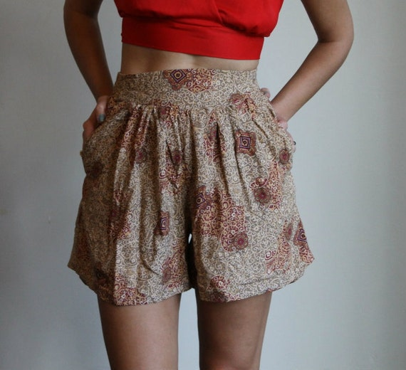 High Waisted Shorts  /  Ethnic Paisley Culottes  /  Small or Medium