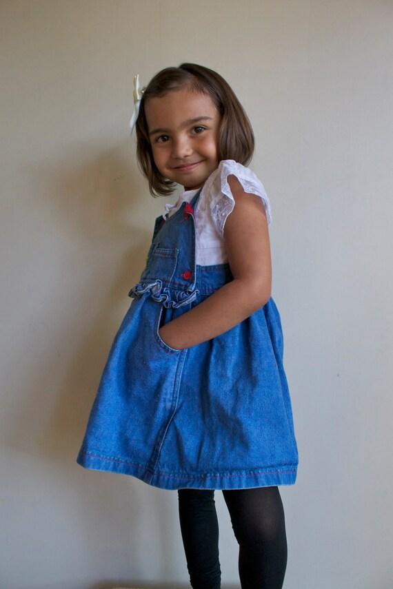 Toddler Girls Dress  /  Childrens Denim Jumper Dress  /  Clown Circus  /  3T 4T