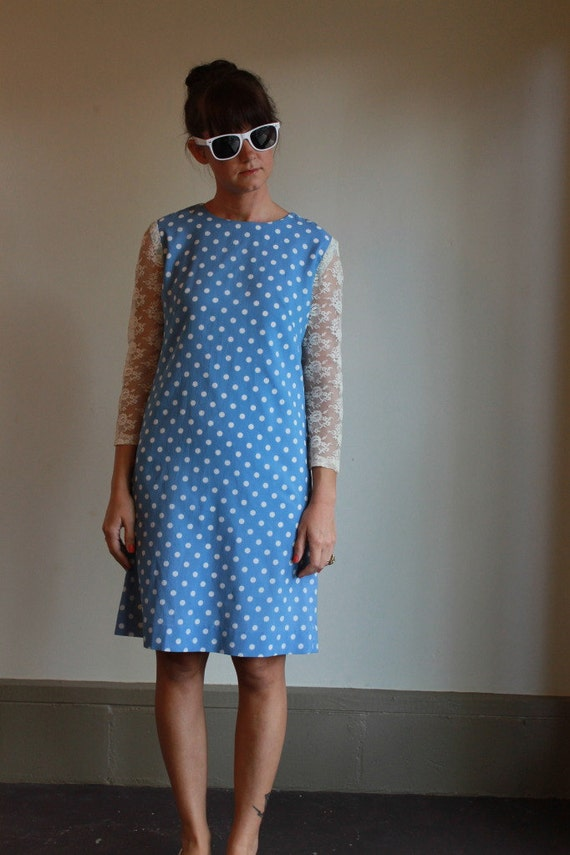 60s Mod Dress  /  Polka Dot Dress With Lace Sleeves  /  Vintage 1960s  /  S or M