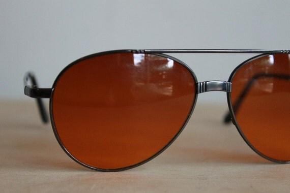 Vintage Aviator Sunglasses  /  Orange Lens Black Framed Unisex Eyewear