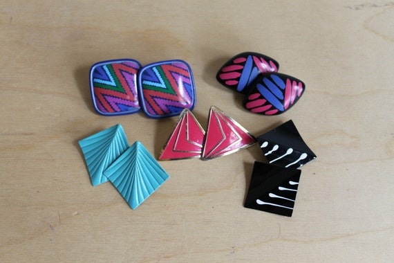 Vintage 80s Earrings Set of 5 / Colorful Geometric Clip ons