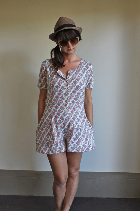 Floral Romper / Jumper  Button Down Colorful White Vintage Early 90s  Small