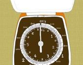 Kitchen Art Print - Salter Scales (orange)
